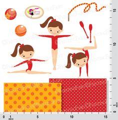 Little Girl Gymnasts Clip Art Set Cliparts by PaintingFairyClipart