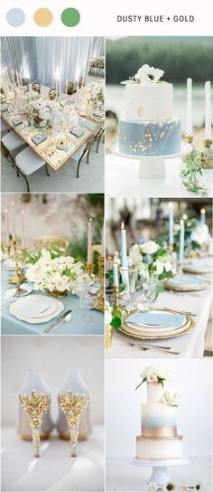 Dusty blue and gold wedding color palette idea / www.deerpearlflow& The post Top 7 Dusty Blue Wedding Color Combos for 2019 appeared first on Wedding. Blue Gold Wedding, Gray Wedding Colors, Popular Wedding Colors, Gold Wedding Theme, Summer Wedding Colors, Wedding Color Schemes, Wedding Themes, Wedding Ideas, Periwinkle Wedding
