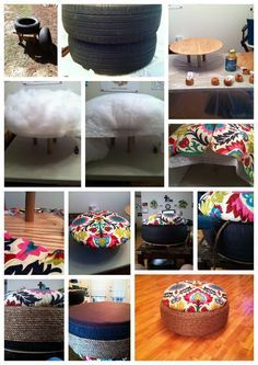 Old tires turned ottomans. I so need to do this if I ever get my hands on an old tire lolHave a look at Previous tires turned ottomans. I so want to do that with the hundred tires my husban.Old tires turned ottomans. no more tire fires just heaps of ottom Diy Projects To Try, Home Projects, Tire Ottoman, Eco Deco, Fun Crafts, Diy And Crafts, Tire Craft, Tyres Recycle, Recycled Tires