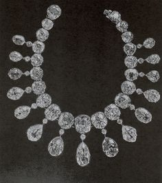 Diamond riviere of 36 large brilliants, the largest weighing 32 carats - see photos of empress marie feodrovna wearing this necklace