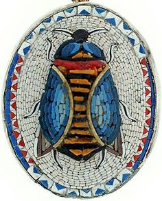 Victorian Sterling 3-Dimensional Micro Mosaic Scarab Pendant  (ca1880)