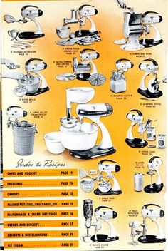 Accessories for Vintage Sunbeam Mixmaster. With free downloadable manual.