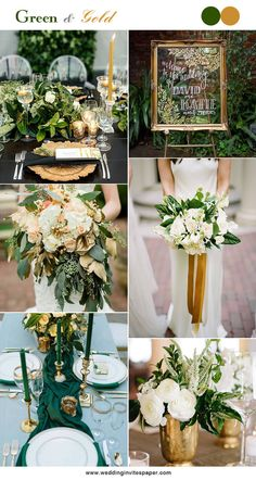 5 Hottest Green Color Combos To Brighten Your Big Day - Wedding Invites Paper gold wedding decorations/ rustic chic green wedding bouquets/ modern stylish wedding signs/ gold wedding centerpieces/ rustic chic fall wedding inspirations