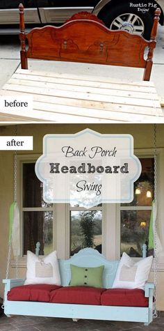 """Ideas for """"Hattie's Recycled Blessings & Crafts""""~~Have A Blessed Day~~ Back Porch Headboard Swing"""
