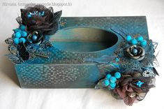 Beautiful blue & grey altered art tissue box cover