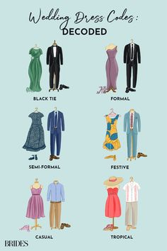 From Black Tie to Casual: Wedding Guest Dress Code Explained - - What's the difference between black tie and formal? We're breaking down wedding guest dress code to help you decide what to wear to a wedding. Source by brides Formal Wedding Guest Attire, Semi Formal Dresses For Wedding, Black Tie Wedding Guests, Formal Wedding Guests, Casual Wedding Attire, Summer Wedding Outfits, Dresses To Wear To A Wedding, What To Wear To A Wedding As A Guest, Wedding Dress Codes