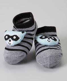 Look what I found on #zulily! Black & Gray Stripe Raccoon Socks #zulilyfinds