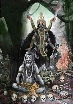 Why is Lord Shiva under the feet of Devi Kaali, after Devi kaali killed the Asura Raktabija? Indian Goddess Kali, Goddess Art, Durga Goddess, Indian Gods, Kali Mantra, Mother Kali, Mother Goddess, Divine Mother, Kali Hindu