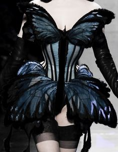 Blue Butterfly Corset - wearable art with 3D silhouette; sculptural butterfly fashion // Jean Paul Gaultier Haute Couture