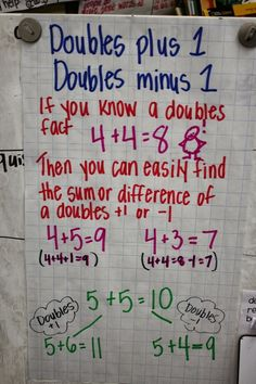 Doubles plus one/ Doubles minus one- one of my favorite second grade strategies.
