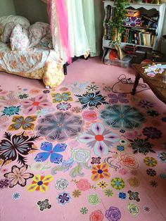While design ideas for the painted wood floors are plenty, the hottest trends today are stenciled floors and painted floor rugs. Painted Wooden Floors, Painted Rug, Wooden Flooring, Laminate Flooring, Hand Painted, Girls Room Paint, Girl Room, Girls Bedroom, Upcycled Home Decor