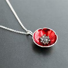 Flower poppy necklace wife gift girlfriend gift love friendship sterling silver necklace enamel jewelry flower pendant poppy jewelry (57.00 USD) by emmanuelaGR