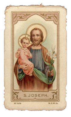 St Joseph Vintage Holy Card M H w Co