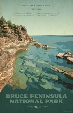 Bruce Peninsula National Park Laptop & Ipad Skin by Cameron Stevens - MacBook Pro Retina Canada National Parks, Parks Canada, Canada Eh, National Park Posters, Vintage Travel Posters, Great Lakes, Framed Art Prints, Coast, Exterior