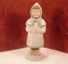 Vintage Belsnickle German Composition Candy Container Victorian Girl