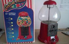 Máquina/Hucha expendedora de chicles bola años 80 Metal y Cristal