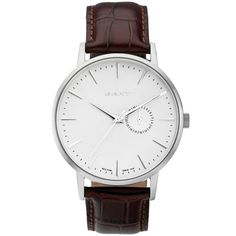 GANT Park Hill II Wristwatch, featuring a crocodile grain leather strap, stainless steel case, three hands, date indicator, and water resistance up to 5 ATM.
