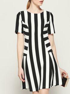 White Short Sleeve Stripes A-line Mini Dress Vestido De Rayas 6986edf8365e