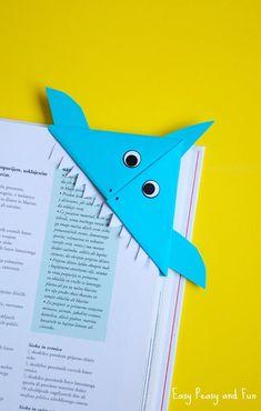 Origami Fish - Origami for Kids Shark Corner BookmarkShark Corner Bookmark Summer Crafts For Kids, Paper Crafts For Kids, Crafts To Do, Diy Paper, Art For Kids, Corner Bookmarks, Origami Bookmark, Bookmarks Kids, Handmade Bookmarks