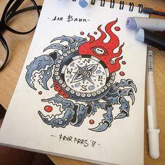 Для Ванечки. Creepy compass tattoo design for Ivan. #crabtattoo #colortattoo #compass #compasstattoo #oldschooltattoo #traditionaltattoo #frvrfrrs #spbtattoo #travellingtattooist #travellingtattooartist #russiantattoo #cute #cutetattoo #милота