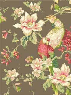 Ashford House Wallpaper | Tropical Birds with Magnolias | AmericanBlinds.com
