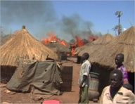 This IDP camp in northern Uganda has been set ablaze to the detriment of the unfortunate and now homeless once living here.  Most have very little, but when the huts catch fire -- which is often in the African heat -- they lose the only form of shelter that they possess. In the documentary, the filmmakers say they have obtained video of Ugandan soldiers setting the huts on fire. The Ugandan government denies its troops would do anything to harm the IDPs in the camps.