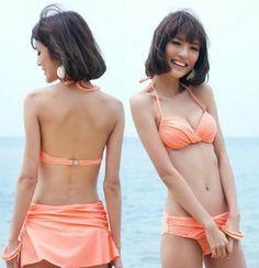 Amazon.co.jp: レディース水着/スイムウエア/ 3点セット/ホルター/温泉/岩盤浴/三角ビキニ/ビーチ/夏/海/三点セットX1214 オレンジ色: 服&ファッション小物