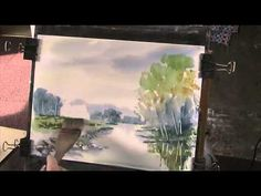 Painting reflections on a lake in watercolour - YouTube