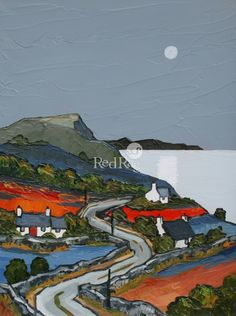 Moon over Nefyn Bay by British Contemporary Artist David BARNES