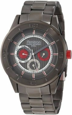 Armitron Men's 20/4852RDDG Colorful Dress Red Accented Gunmetal-Tone Multi-Function Watch Armitron. $97.49. Adjustable link gunmetal-tone bracelet with brushed outer links and polished center links. Gunmetal-tone dial with vertical textured center zone, and brushed outer zone; silver-tone hour indexes with metallic red center at all hours. 44 mm brushed gunmetal-tone stainless-steel case with engraved bezel, metallic red aluminum crown and case back. Water-resistant to 50 M ...