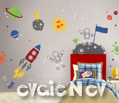 Custom Flag Name Outer Space Wall Decals Astronauts by evgieNev
