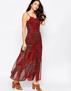 Influence Button Through Maxi Dress In Boho Print