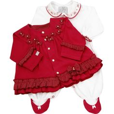 Macacão em plush vermelho e branco By Gabriely Baby - O que é bonito tem que ser compartilhado... Né!?