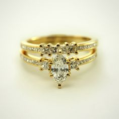 Marquise Petite Bridal Wedding Ring Sets made in Solid Yellow Gold