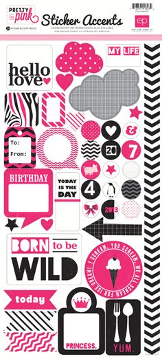 Echo Park - Pretty in Pink Collection - Cardstock Stickers at Scrapbook.com $1.99