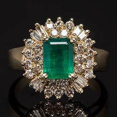 Natural Emerald  Genuine Diamond Halo Ring Solid 14K Gold Fine Estate Jewelry