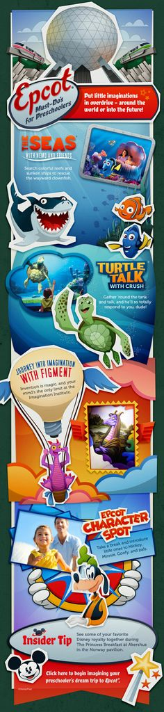 Epcot Must Dos for Preschoolers (or select another age group on the chart if youd like)! Finding Nemo, Turtle Talk with Crush, Journey into Imagination with Figment, Epcot Character Spot: Mickey, Minnie, Donald, Goofy, Pluto!