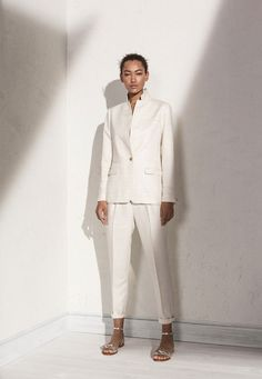 costume pantalon lin blanc casse