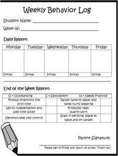 Daily / Weekly Behavior Log, one day I will pick which one works best for my classroom needs Behavior Log, Classroom Behavior Management, Student Behavior, Behaviour Management, Behavior Charts, Behavior Goals, Positive Behavior, Kindergarten Classroom, School Classroom