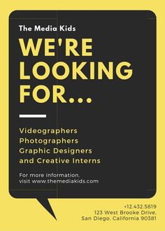 Yellow Black and White Photo Job Vacancy Announcement - Templates by Canva Poster Design Online, Poster Design Software, Free Graphic Design Software, Landscape Design Software, Letterhead Design, Brochure Design, Hiring Poster, Recruitment Ads, Architect Jobs