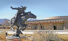 Visitors to the Buffalo Bill Center of the West's museum complex in Cody, Wyoming, are greeted at its entrance by Peter Fillerup's bronze Bill Cody — Hard and Fast All the Way, which was dedicated in 2010 in honor of the Pony Express's sesquicentennial. Us Travel, Places To Travel, Silver City, Le Far West, American History, Native American, Before Us, Old West, Geology