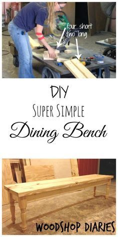 Woodworking Bench How to build a super simple DIY dining bench with just a few boards and a few minutes--Woodshop Diaries Simple Diy, Easy Diy, Super Simple, Woodworking Workbench, Woodworking Projects, Woodworking Shop, Garage Workbench, Intarsia Woodworking, Woodworking Joints