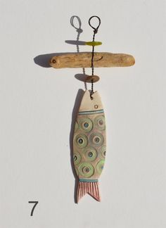 Ceramic Fish And Driftwood Hangers with Vintage Buttons - CoastalHome.co.uk: Driftwood