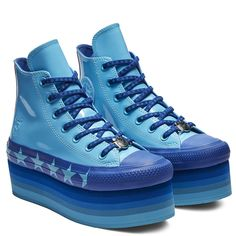 Converse x Miley Cyrus Chuck Taylor All Star Platform High Top Faux Patent  Gnarly Blue  0015977d58d