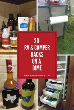 Try these RV hacks, tricks and ideas for your RV, camper or boat. These tips work for any motorhome, 5th wheel, travel trailer, popup camper, yacht or boat. These ideas are for your RV bathroom, kitchen or galley, living room and storage cabinets. You can pick them up at Ikea, Home Depot, Lowes and Hobby Lobby. Try these awesome storage and organization tips for RV living. These simple tips will keep everyone a happy camper on your road trip!