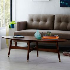 "Reeve Mid-Century Oval Coffee Table | west elm 24"" deep, 58"" long,17"" h"