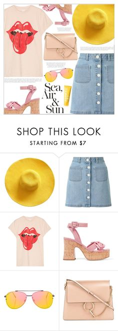"""""""My Vacations"""" by makeupgoddess ❤ liked on Polyvore featuring Miss Selfridge, MadeWorn, Miu Miu, Anja, Topshop, Chloé and Clinique"""
