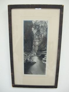 Vintage Black White photograph framed Swimming hole cliff canyon travel decor