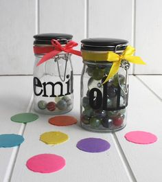 Personalised Reward Jars  Reward your children with marbles rather than sweets! Even the most angelic child has their moments and with this reward jar you can motivate good behaviour. The concept is simple, you start with a full jar of marbles and when your child does a good deed they can take one out. When the jar is empty you can give them a really special treat and fill it back up again. The jar can be used for all sorts of special treats and makes being good fun! These gorgeous vintage…