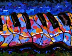 Abstract piano art painting keyboard painting music by Debra Hurd , painting by artist Debra Hurd